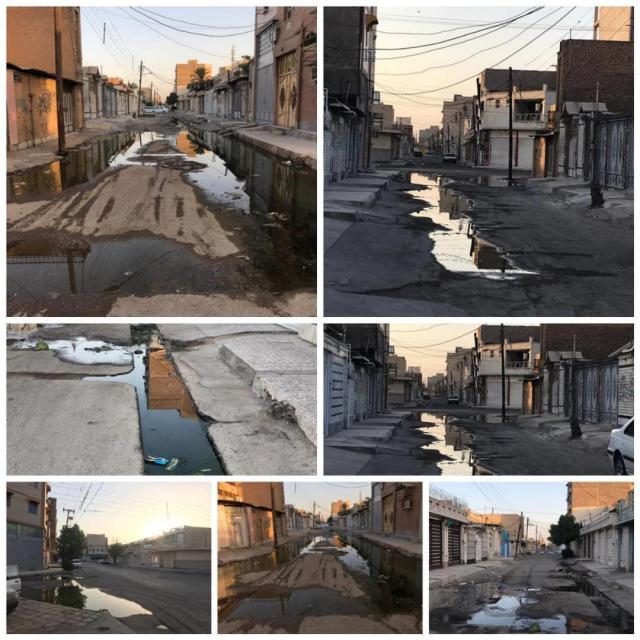 دریاچه های خیابانی فاضلاب اهواز در اوج خشکسالی و بی بارانی!