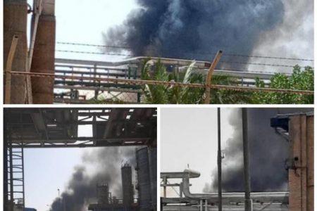 آتش سوزی در پتروشیمی امیرکبیر ماهشهر