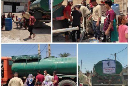 تداوم آبرسانی تانکرهای سپاه به روستاهای بی آب دشت ازادگان و حویزه
