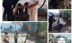 گروه عملیاتی شرکت آبفای اهواز به مدد ابوفاطمه آمدند