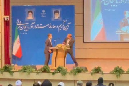 کتککاری استاندار آذربایجان شرقی در آغاز مراسم معارفه
